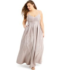 b darlin trendy plus size glitter-knit gown, created for macy's