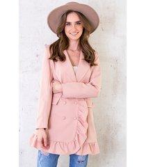 blazer dress button roze