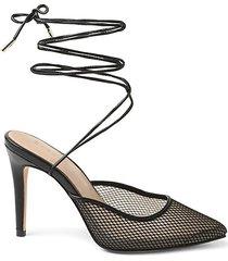hendri ankle-tie fishnet pumps
