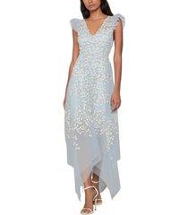 bcbgmaxazria embroidered ruffle dress