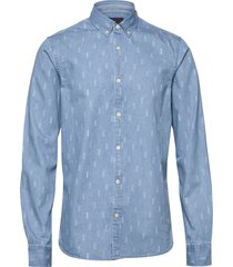 ab regular fit aop shirt with seasonal artworks skjorta casual blå scotch & soda