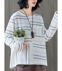camicetta casual a maniche lunghe a righe da donna