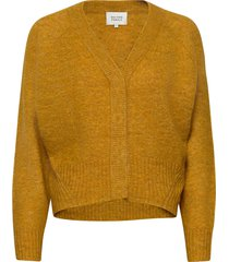 this cardigan with deep v-neck is made from a soft mohair-w gebreide trui geel second female
