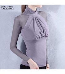 zanzea malla elástica tops atractivo de las mujeres considera a través camisa de manga sheer casual tamaño de manga larga delgada del remiendo blusas blusas plus (gris) -gris