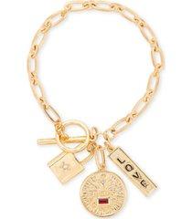 rachel rachel roy gold-tone crystal love multi-charm link bracelet