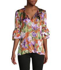 floral & leaf-print tiered-sleeve blouse