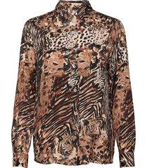 winona silky pyjama shirt blus långärmad brun residus