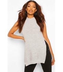 zwangerschaps gebreide mouwloze trui met zijsplit, grey