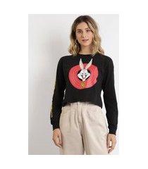 camiseta feminina cropped pernalonga looney tunes manga longa decote redondo preta