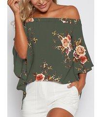 blusa con hombros descubiertos y estampado floral al azar en verde militar