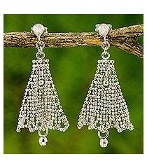 sterling silver chandelier earrings, 'silver skirts' (thailand)