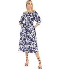 inc cotton printed smocked off-the-shoulder dress, created for macy's