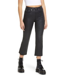 women's topshop coated high waist crop straight jeans, size 32 - black