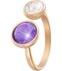 anello regolabile in metallo rosato e pietre colore per donna
