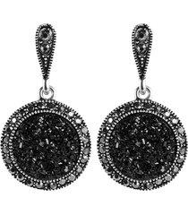 orecchini pendenti orecchio vintage cristallo nero tondo geometrico penzolare gioielli etnici per le donne