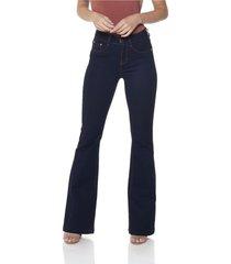 calça jeans denim zero flare média clássica escura