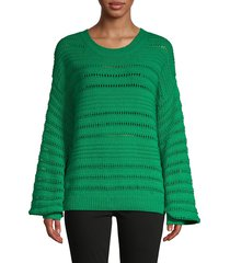 willow & clay women's pointelle knit sweater - kelly green - size xs