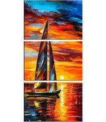 conjunto de telas decorativa pintura barco a vela com sol grande love decor - kanui
