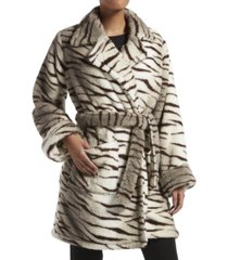 kendall + kyle zebra fuzzy trench wrap robe, online only