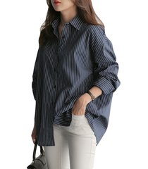 camicetta casual a maniche lunghe con collo rovesciato a righe