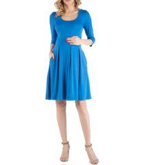 24seven comfort apparel fit and flare scoop neck maternity dress