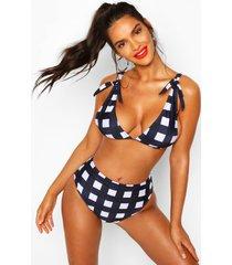 bikini met hoge taille en schouderstrikjes, marineblauw