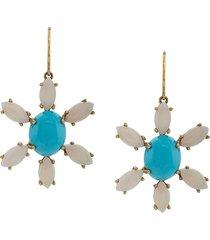 andrea fohrman 18kt yellow gold sleeping beauty earrings - blue