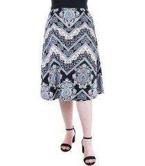 plus size paisley print elastic waist midi skirt