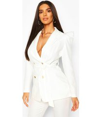 puff shoulder double breasted tailored blazer, white