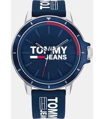 tommy hilfiger men's tommy jeans navy logo watch blue -