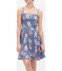 vestido sin mangas floreado azul gap
