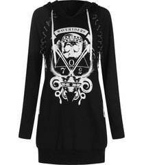 skulls graphic pullover hoodie with becket