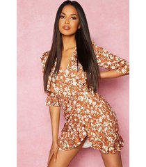 recycled floral print ruffle wrap tea dress, tan