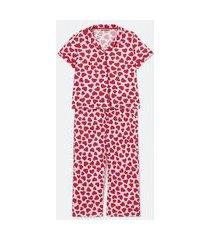 pijama longo em viscose com estampa de coraçõezinhos curve & plus size | ashua curve e plus size | rosa | eg