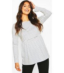 maternity long sleeved stripe smock top, white