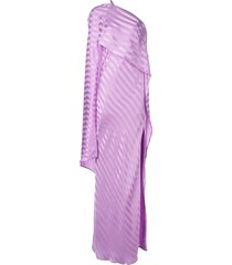 michelle mason one-shoulder cape gown - purple