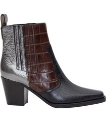 ganni patchwork booties
