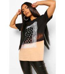 bleach dipped bandana print t-shirt, black