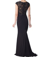 dislax cap sleeves lace chiffon sheath mother of the bride dresses black us 10