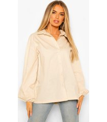 geplooide poplin blouse met extreme pofmouwen, stone