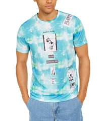 guess men's tie-dye collage graphic t-shirt