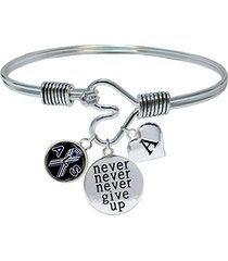custom als lou gehrig's awareness never give up bracelet choose initial family