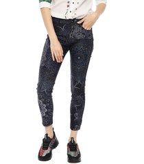 jeans desigual multicolor - calce ajustado
