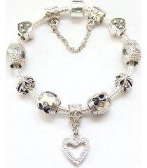 pulsera lujo mujer cuentas cristal murano plateada 3742