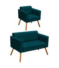 conjunto sofá retrô 2 lugares e 01 poltrona elisa suede azul paváo - d'rossi