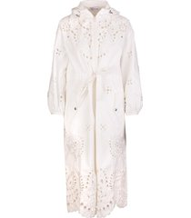white floral embroidery hooded parka