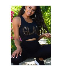 trendy 2 piece-set glam top + hoge taille leggings zwartgoud