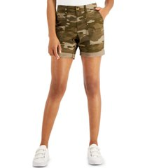 style & co petite camo-print roll-cuffed shorts, created for macy's