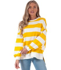womens chili stripe crew sweatshirt