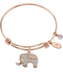 "unwritten ""all good things are wild and free"" elephant charm adjustable bangle bracelet in rose gold-tone & stainless steel with silver plated charms"